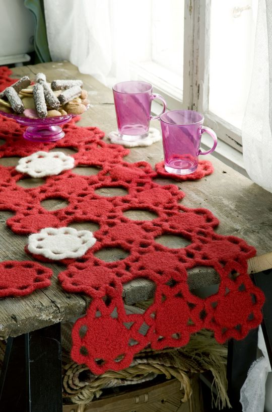Novita felting ideas, Christmas runner made with Novita Joki (River) yarn #novitaknits https://www.novitaknits.com/en