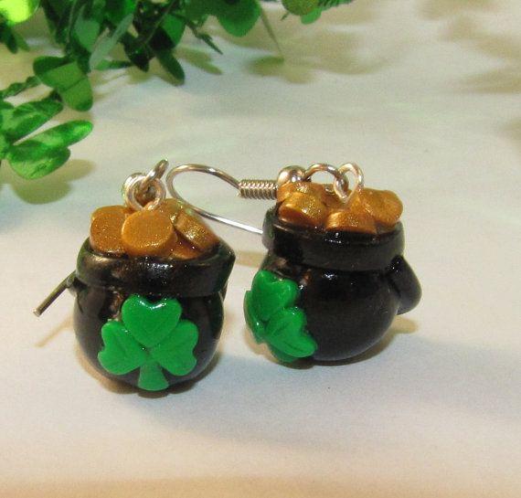 St. Patrick's Day POT of GOLD Dangle Earrings  by RozPetalzStudio, $12.00