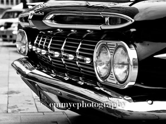 A professionally-printed black and white photograph featuring a close-up of a gorgeous vintage American car - a Chevy Impala!  Printed by a professional lab on Fuji Archive paper, which ensures that colours stay vibrant and wont fade over time. Available in gloss or matt finish. The image shown in a frame is for information only - frame and mount not included.  Available as a 8x6 (20x15cm) print. If you require a different size, please get in touch!  ** Every order includes a free sticker…