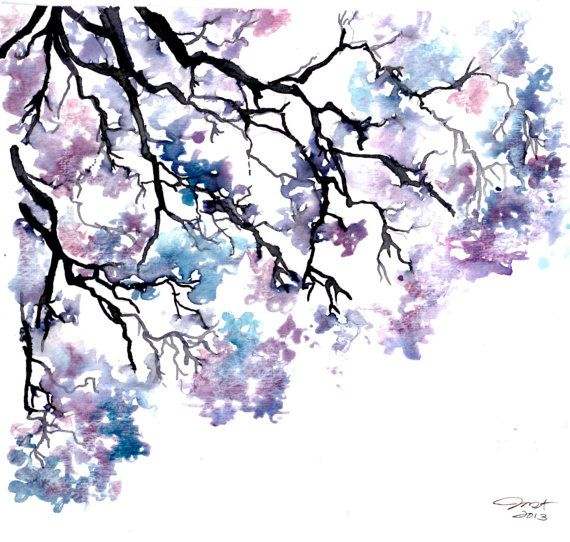 Meet me under the jacaranda tree, #watercolor by Jessica Durrant #jacaranda