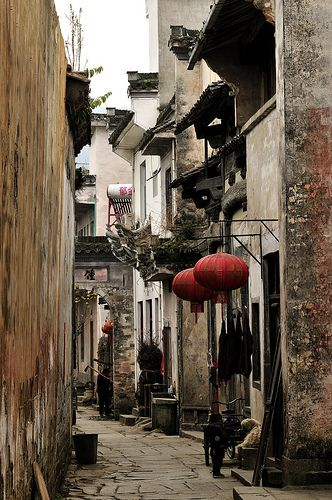 An alley at Chengkan Village, Huangshan, Anhui, China