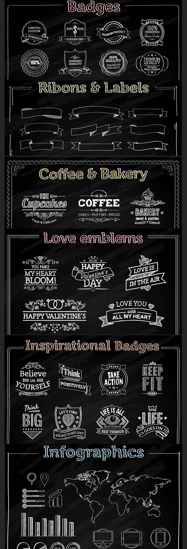 Freebie : 100+ Chalk Vector Elements (badges, ribbons, labels, infographic elements etc.) | Designbeep