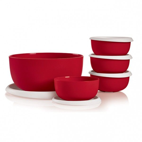 Tupperware Essentials Salad Set:          This family-sized set was made for huge holiday helpings. Includes one 18-cup/4.3 L Large Serving Bowl and set of four 2¼-cup/550 mL Small Serving Bowls.  All come with single-touch seals Dishwasher safe     Item:10128547000