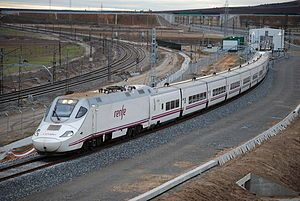 The RENFE Class 130 or S-130[4] (Spanish: Serie 130 de Renfe, manufacturer's designation Talgo 250) is a high-speed dual-gauge, dual-voltage trainset consisting of 11 Talgo VII tilting coaches and two power cars, used on Alvia services.[5][6] The class have been nicknamed patitos (ducklings), due to the shape of the train nose