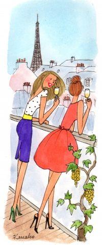 L'apéro de l'été. Mon amie Jenny-Anne et moi! (One can dream!)  Another delightful illustration from Kanako.