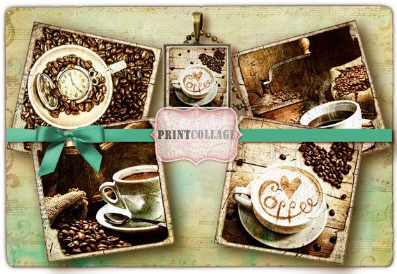 Printable Collage Sheet for Coasters Greeting by PrintCollage
