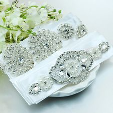 Luxious Rhinestone Sash Belt Bridal Gown Crystal Wedding Dress Pearl Sash Belt