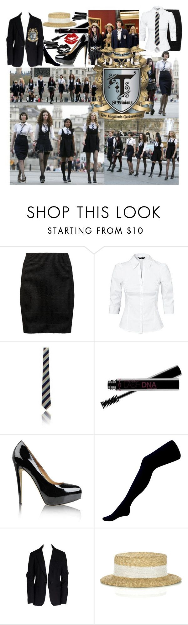 """""""St. Trinian's"""" by smiley3 ❤ liked on Polyvore featuring Julien Macdonald, H&M, Smashbox, Brian Atwood, Oasis, Trina Turk, Albertus Swanepoel and Lancôme"""