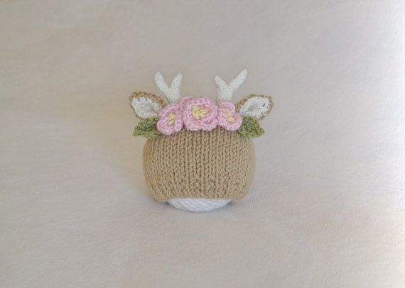 Deer Flower Crown Baby Hat Fawn with Flowers by HisforHARPER