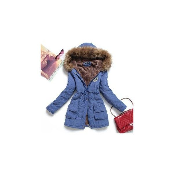 Furry Trim Hooded Fleece Lined Parka (1260 TWD) ❤ liked on Polyvore featuring outerwear, coats, women, hooded coat, parka coats, hooded parka, fleece lined coat and blue parka