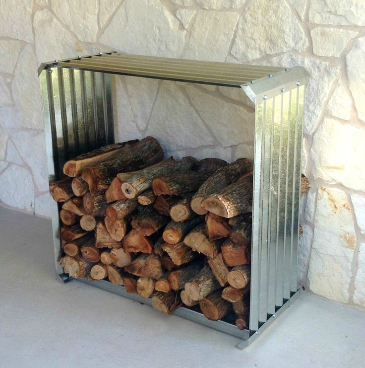 Attractive Corrugated Firewood Rack   A Unique Way To Store Firewood Outside Your Door.