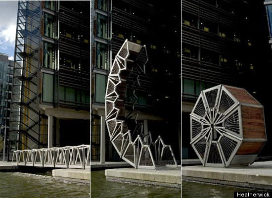 London's Rolling Bridge, designed by Heatherwick Studio, has an unusual way of lifting to let boats pass: it curls up into a little ball.