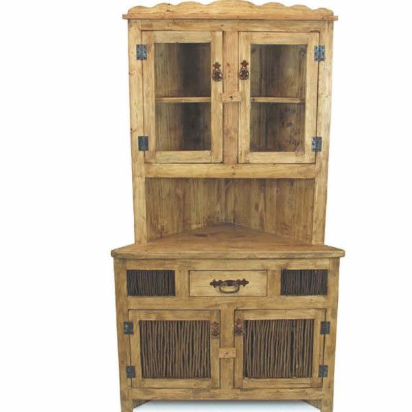 Lovely Rustic Pine Corner Cabinet