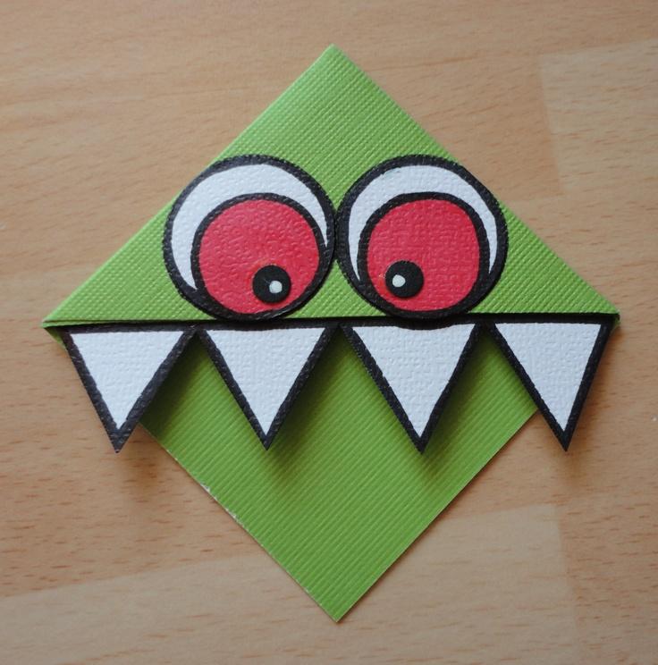 Monster Corner Bookmark - Scrapbook.com
