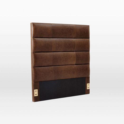 Panel Tufted Premium Leather Headboard | West Elm | Queen U003d $764