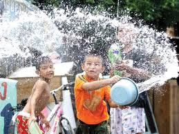 Kids having fun with water festival