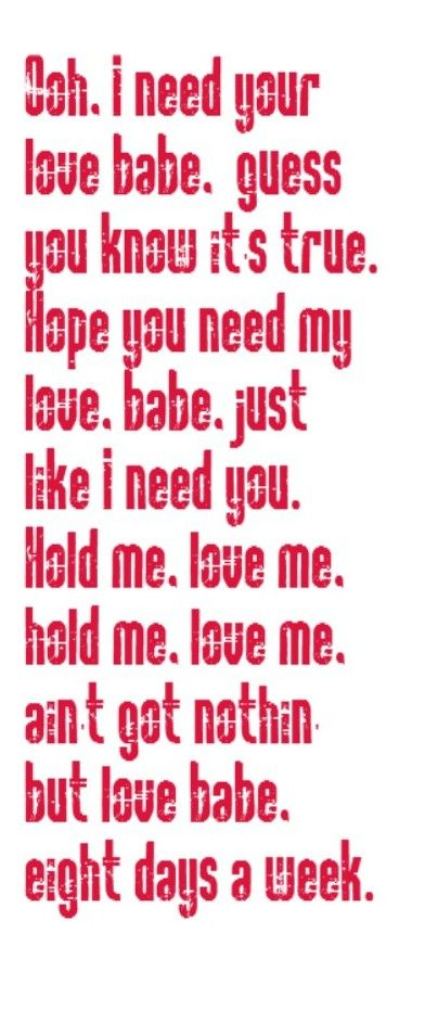 The Beatles - Eight Days a Week - song lyrics, song quotes, music lyrics, music quotes, songs