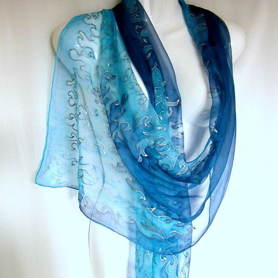 Blue Silk Scarf Hand Painted Silk Scarf Ice Blue Dark by silkshop, $50.00
