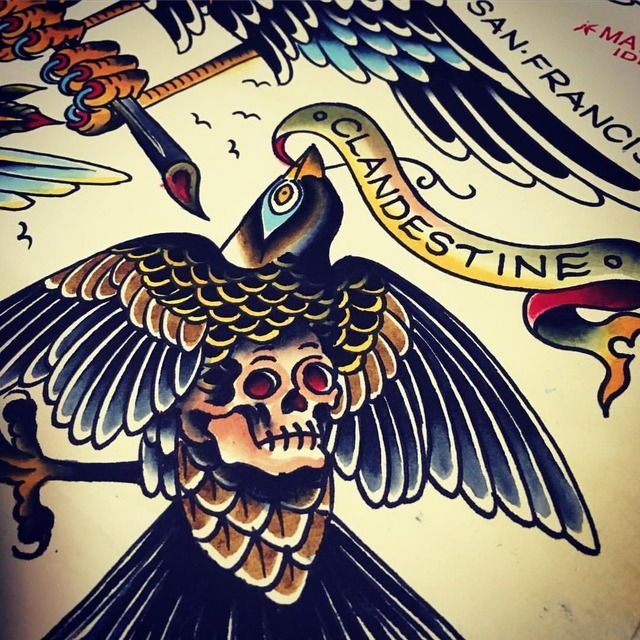 Here's a preview of my sheet for the Bird Book #birdbook @lllbooks @eyemansfo @zachnelligan thanks fellers - can't wait to see the finished thing! #bird #skull #eagle #idlehandsf #matthowse #traditionaltattooflash #traditionaltattoo #traditionaltattoos #beer (at Sunset District, San Francisco)