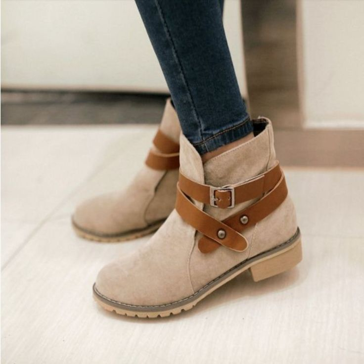 Fashion Buckle Strap Ankle Boots For Women