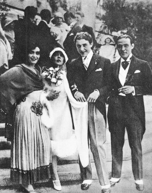 Pola Negri, Marion Davies, and Rudolph Valentino attending a wedding lunch for Mae Murray and Prince Davi Mdlvnai, 1926.