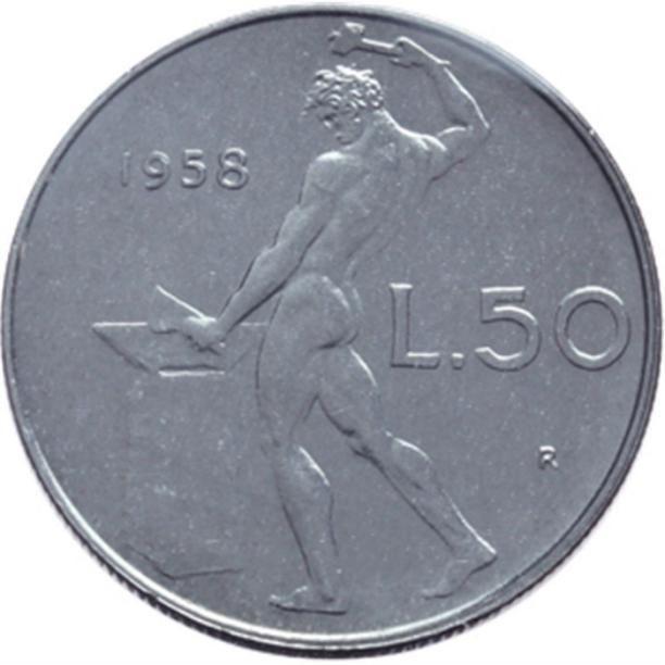 La moneta da 50 lire con l'uomo che batteva il ferro.