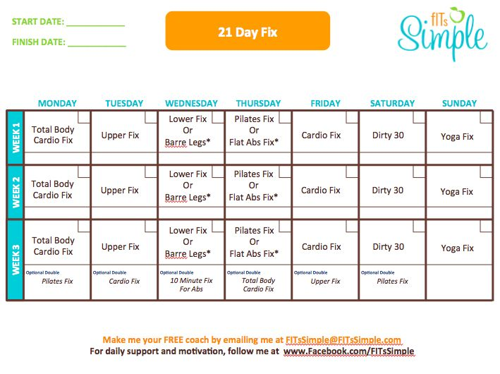 21 Day Fix | Workout Calendar  Here is the line up of workouts for the 21 Day Fix.    Join my Like Page at http://www.fb.com/fitssimple. Visit my website at http://www.FITsSimple.com