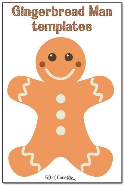 Free gingerbread man templates to inspire some gingerbread man crafts and activities for Christmas.    Gift of Curiosity