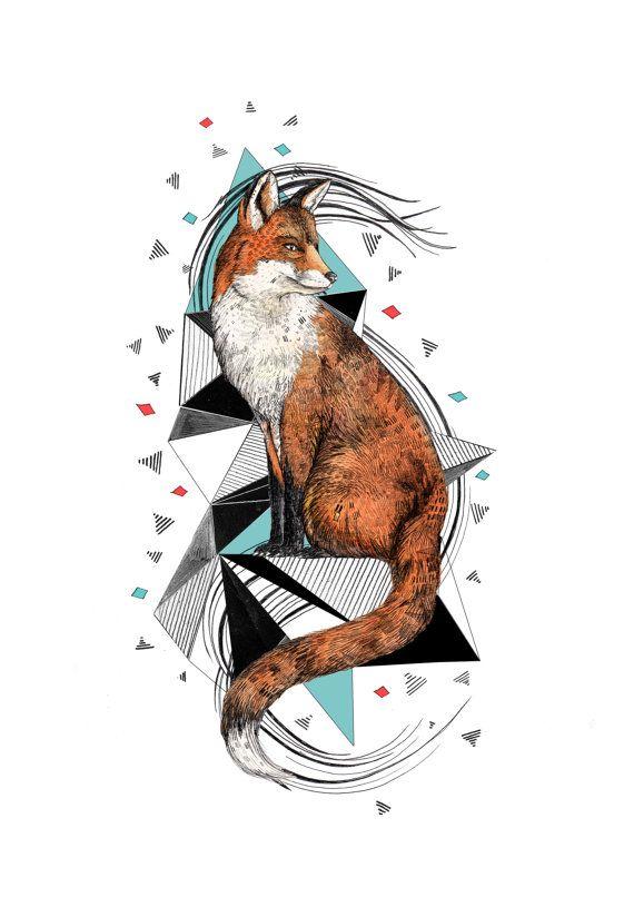 Foa Fox // A4 print by SandraDieckmann on Etsy, £14.00