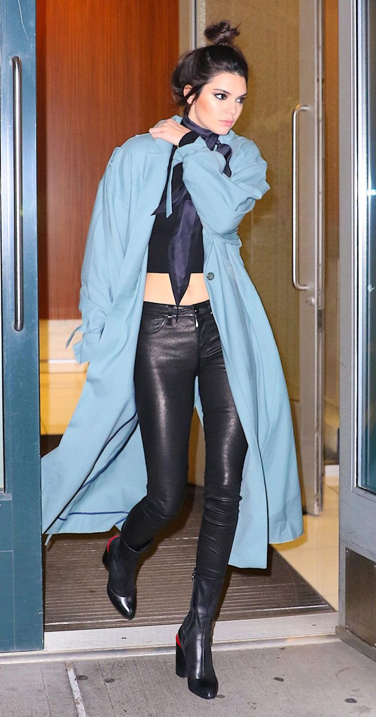 Black top+black leather pants+black midi boots+light blue duster coat+scarf. Fall Transitional Outfit 2016