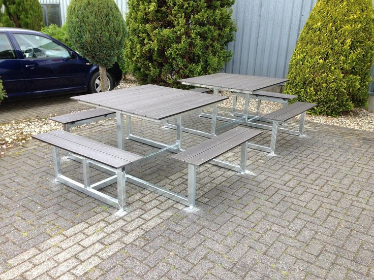 Vierkante Quatro picknicktafel. duurzame onderhoudsvrije tafel voor terras of tuin.