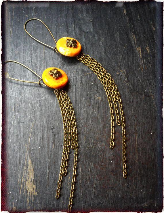 The Sundial Dangle Fringe Earrings.  Yellow - Orange Magnesite & rustic fringe BOHO Handmade earrings