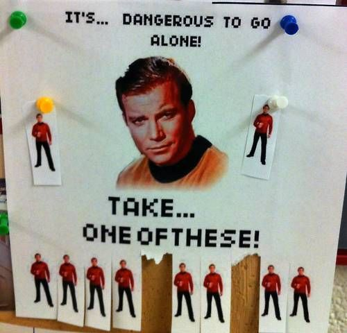 It's dangerous to go alone! (f*ck it, i'm just pinning star trek things i find funny in the star wars pinboard.