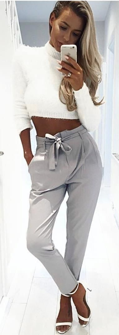 #summer #outfits  White Crop Knit + Grey Pants