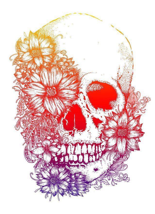 Rainbow Flowers Skull Tattoo Design #skull_tattoo_color