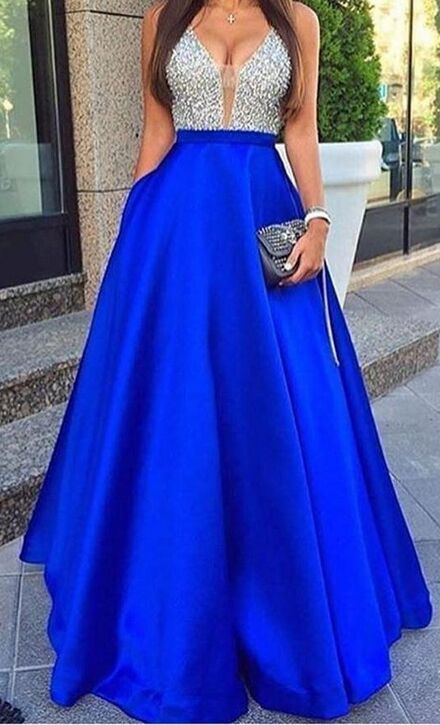 High Low Prom Dresses,Modest Prom Dresses,Deep V-neck Royal Blue Prom Dresses,Modest Evening Dreses,Charming Party Dresses,Satin Beading Prom Gowns,Prom Dress For Teens