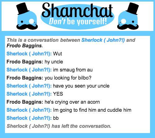 A conversation between Frodo Baggins and Sherlock ( John?!)