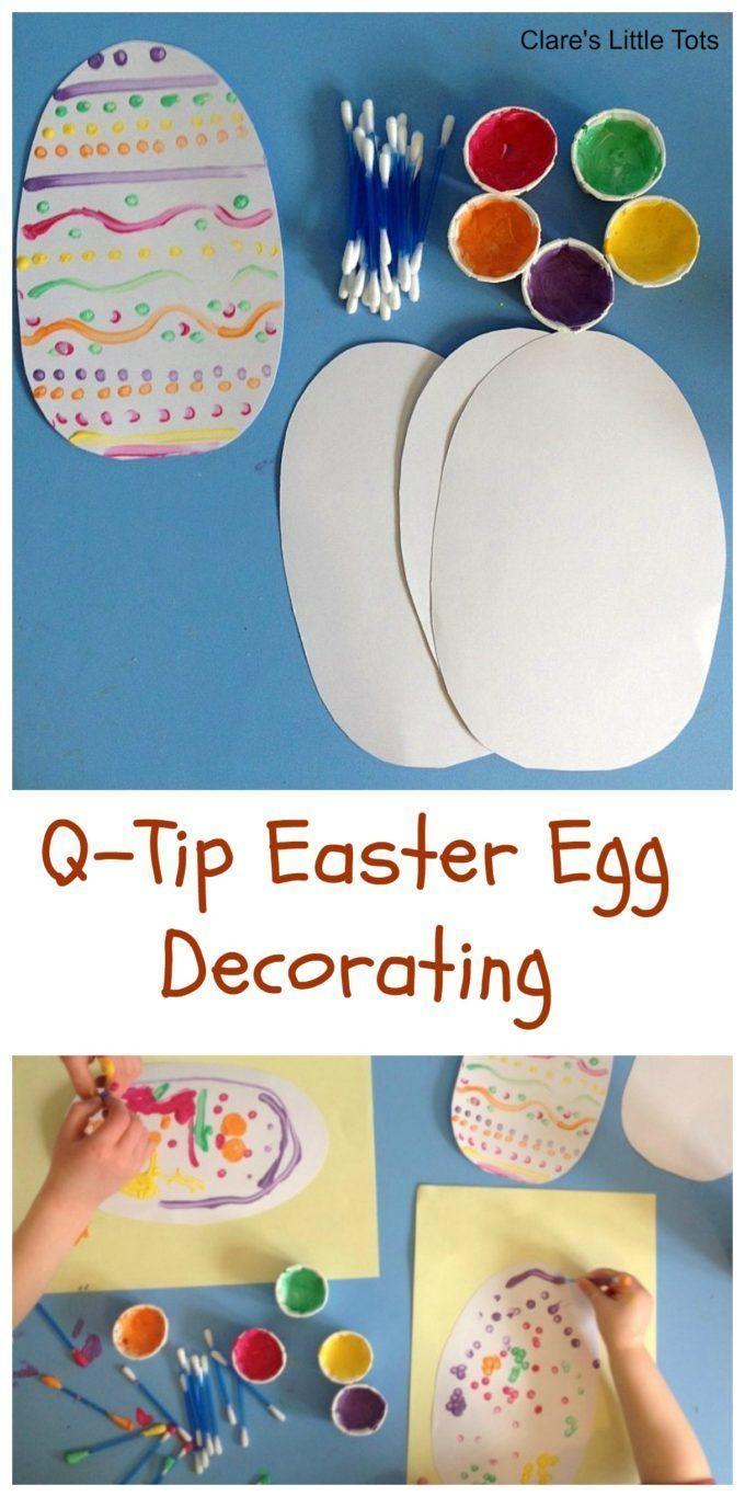 DIY Craft: Q-tip easter egg decorating - an easy DIY craft for Easter celebrations #Eater #crafts #DIY