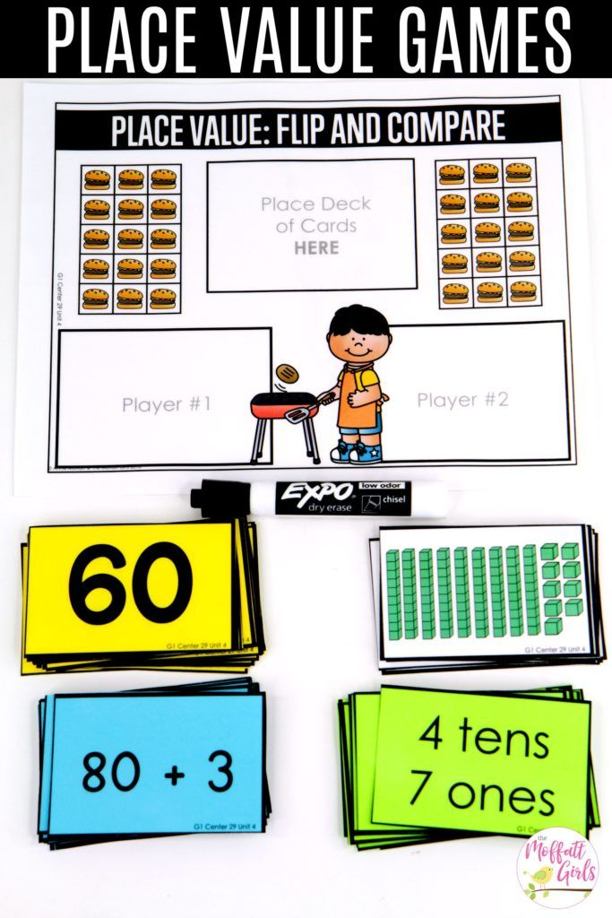 Place Value: Flip and Compare- fun math games to teach place value in first grade!