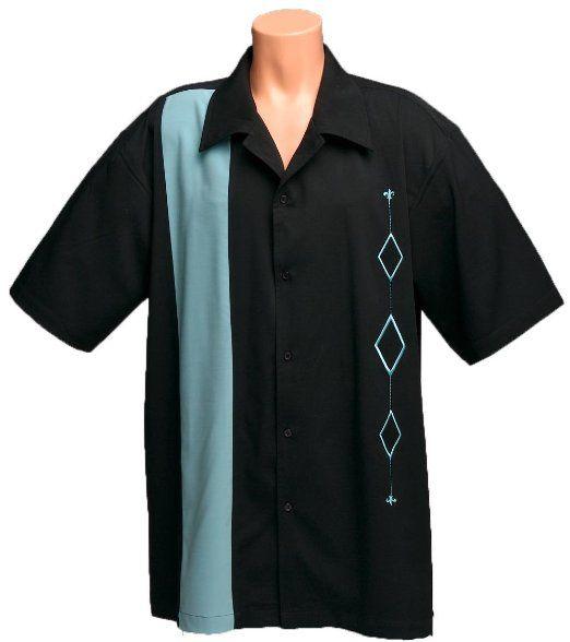 Mens retro bowling shirt big tall sizes medium l xl for Mens 2xl tall shirts