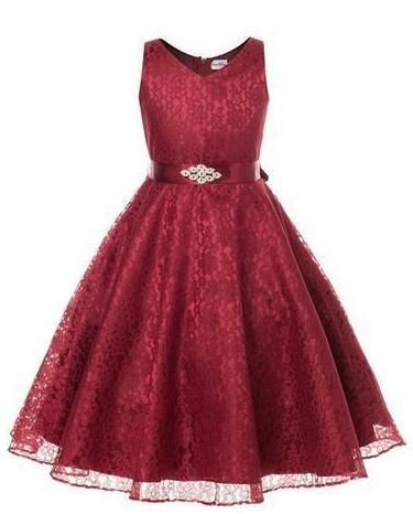 3e760c219b4d5 Girls tulle bridesmaid Lace Dress Birthday Evening Wedding Party Dresses  kids frock designs 8 10 12 14 16 Years - baby and beyond