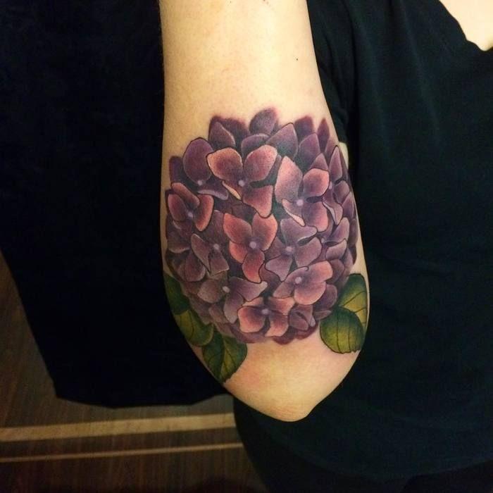 Dark Purple Hydrangea Tattoo by Christina DeMeglio