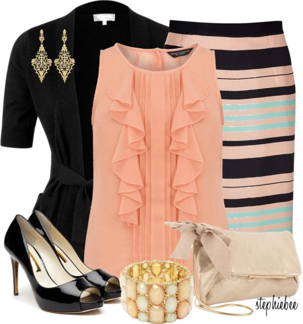 """""""Striped Pencil Skirt"""" by stephiebees on Polyvore"""