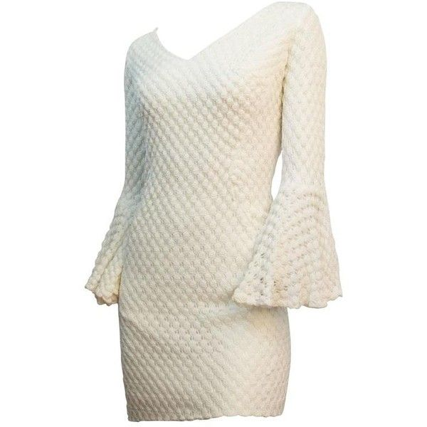 Preowned 60s White Crochet Mini Dress With Bell Sleeves ($395) ❤ liked on Polyvore featuring dresses, mini dresses, white, short bell sleeve dress, white fitted dress, bell sleeve mini dress, fitted dress and bell sleeve dress