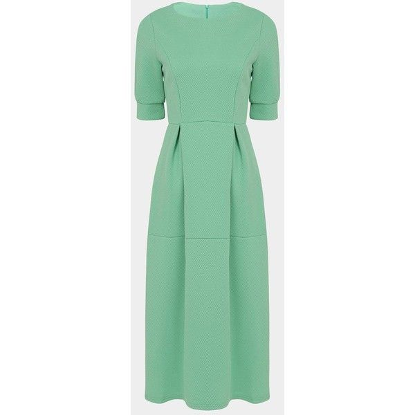 Yoins High-waist Dress with 1/2 Length Sleeves (270 NOK) ❤ liked on Polyvore featuring dresses, green, night out dresses, green dress, high waist dress, elbow length dress and green color dress