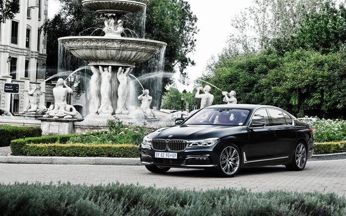 Descargar fondos de pantalla 7 de BMW, 2017, G11, Limusina, negro bmw, el Serie 7, coches de lujo, bmw
