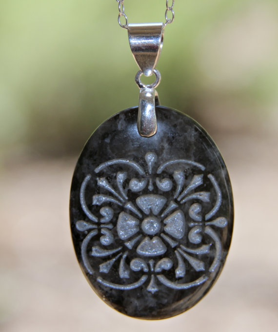 Medallion engraved stone pendant necklace by Terra Rustica Design. Available in my Etsy shop: http://www.etsy.com/shop/terrarusticadesign #engraved #stone #pendant