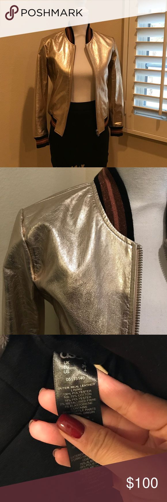 ASOS leather bomber jacket in Metallic ASOS Leather Bomber Jacket,US size 4.Very similar to the new Season Gucci leather jacket.Very stylish.Only wear once.Like brand new.Dont miss this piece! ASOS Jackets & Coats