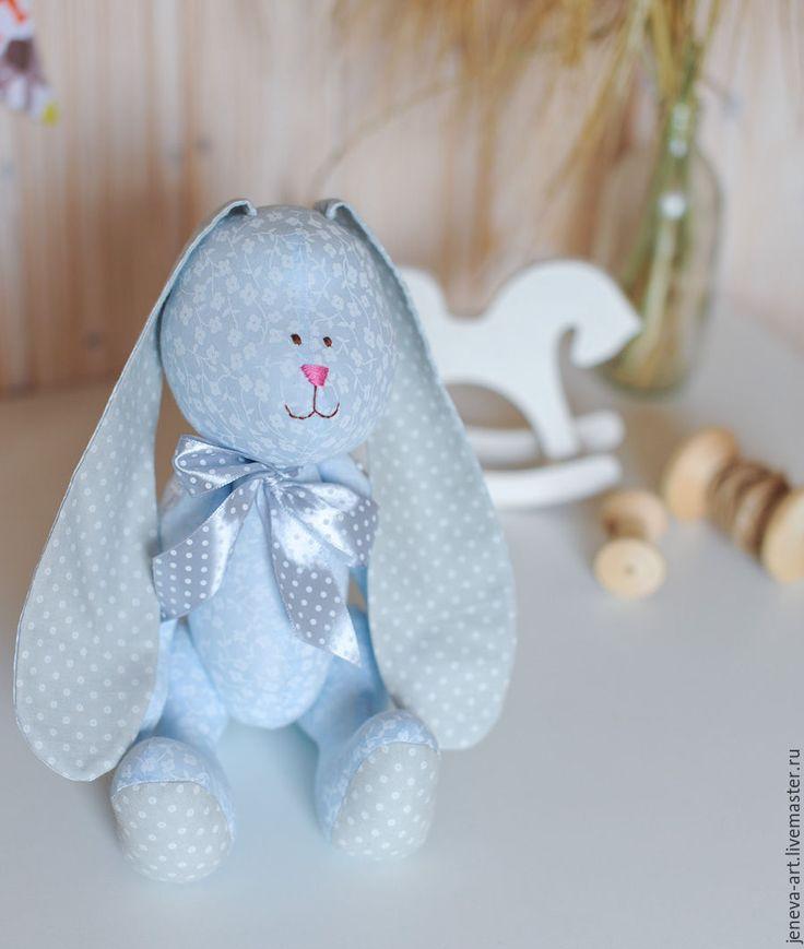 Купить Зайка серый бантик - голубой, серый, бантик, горошек, зайка, подарок на день рождения