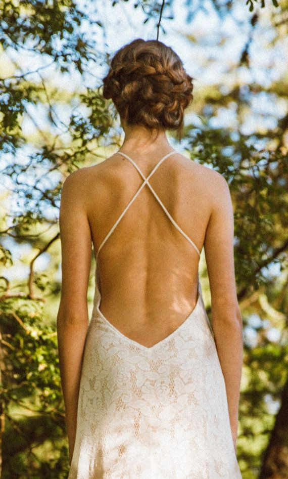 Sexy Backless Lace Gown Wedding Gown Ivory Wedding by ElikaInLove